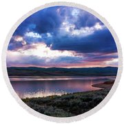 Round Beach Towel featuring the photograph Strawberry Sunset by Bryan Carter