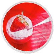 Strawberry Yogurt In Round Bowl With Spoon Round Beach Towel