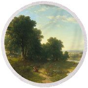 Strawberrying Round Beach Towel by Asher Brown Durand