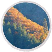 Round Beach Towel featuring the photograph Streak Of Gold by AJ Schibig