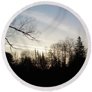 Round Beach Towel featuring the photograph Streaks Of Clouds In The Dawn Sky by Kent Lorentzen