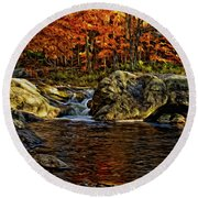 Stream In Autumn 57 In Oil Round Beach Towel