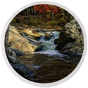 Stream In Autumn No.17 Round Beach Towel