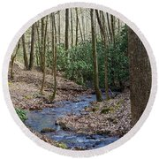 Stream In The Winter Woods Round Beach Towel