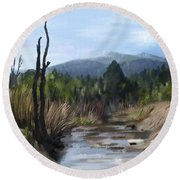 Round Beach Towel featuring the painting Stream by Ivana Westin