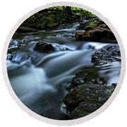 Stream Over Rocks Round Beach Towel