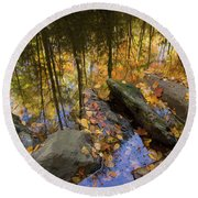 Stream Side Reflections Round Beach Towel