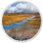 Round Beach Towel featuring the photograph Stream Through The Everglades by Debra and Dave Vanderlaan