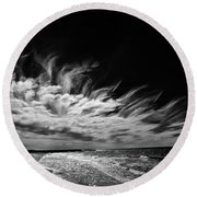 Streaming Clouds Round Beach Towel