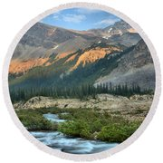 Streaming Down From Bow Glacier Round Beach Towel