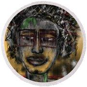 Round Beach Towel featuring the digital art Street Artist  by Sladjana Lazarevic