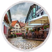 Street Cafe After The Rain Round Beach Towel