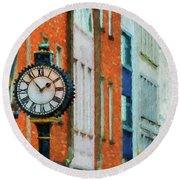 Street Clock In Cork Round Beach Towel