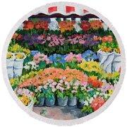 Street Flower Stand Round Beach Towel by Alexandra Maria Ethlyn Cheshire