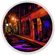 Street In Avignon, France Round Beach Towel