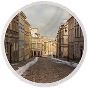 Round Beach Towel featuring the photograph Street In Warsaw, Poland by Juli Scalzi