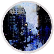 Street Lamps Sidewalk Abstract Round Beach Towel