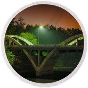 Street Light On Rogue River Bridge Round Beach Towel by Jerry Cowart
