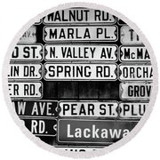 Round Beach Towel featuring the photograph Street Names by Colleen Kammerer