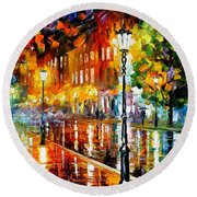 Street Of Illusions - Palette Knife Oil Painting On Canvas By Leonid Afremov Round Beach Towel