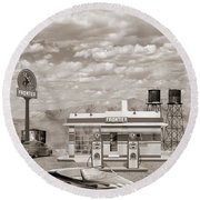 Street Rod At Frontier Station Sepia Round Beach Towel