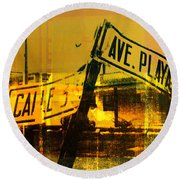 Street Sign Round Beach Towel