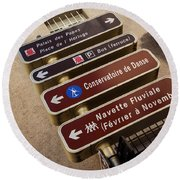 Street Sign In Avignon Round Beach Towel