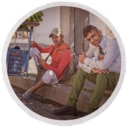 Round Beach Towel featuring the photograph Street Vendors In Cienfuegos Cuba by Joan Carroll