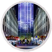 Round Beach Towel featuring the photograph Rockefeller Center by M G Whittingham