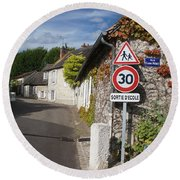 Round Beach Towel featuring the photograph Street View Of Giverny by Therese Alcorn