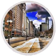 Round Beach Towel featuring the digital art Streets Of Chicago by Kathy Tarochione