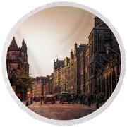 Streets Of Edinburgh Scotland  Round Beach Towel