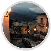 Streets Of Italy - Caramanico Round Beach Towel
