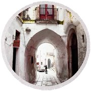Streets Of Ostuni Round Beach Towel