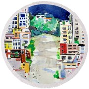 Streets Of San Francsico Round Beach Towel