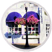 Streetside Balcony Round Beach Towel by Desiree Paquette