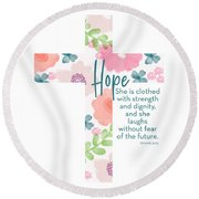 Strength And Dignity Cross- Art By Linda Woods Round Beach Towel