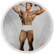 Strength And Health August 1947 Round Beach Towel