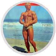 Strength And Health Mag Jan 1953 Round Beach Towel