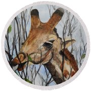 Round Beach Towel featuring the painting Stretch by Betty-Anne McDonald
