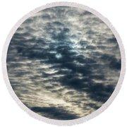 Striated Clouds Round Beach Towel