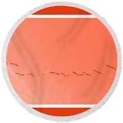 String  Of Brids In Red Round Beach Towel