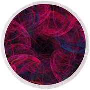 Round Beach Towel featuring the digital art String Time Abstract by Andee Design