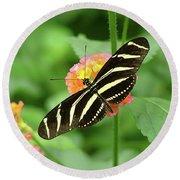 Striped Butterfly Round Beach Towel by Wendy McKennon