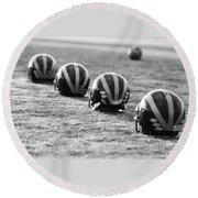 Striped Helmets On The Field Round Beach Towel