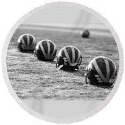 Striped Helmets On The Field Round Beach Towel