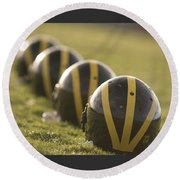 Striped Helmets On Yard Line Round Beach Towel