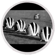 Striped Helmets With Football Round Beach Towel
