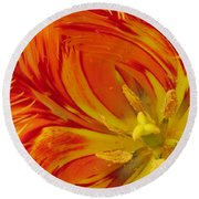 Striped Parrot Tulips. Olympic Flame Round Beach Towel by Ausra Huntington nee Paulauskaite