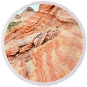 Round Beach Towel featuring the photograph Striped Sandstone Along Park Road In Valley Of Fire by Ray Mathis